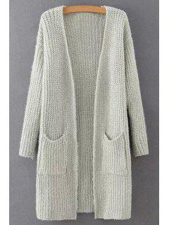 Pure Color Collarless Long Sleeves Pocket Cardigan - Off-white L