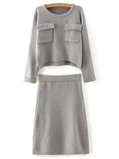 Solid Color Long Sleeves Pocket Sweater And Skirt Twinset - Gray