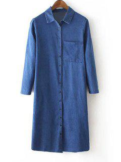 Denim Turn Down Collar Long Sleeve Maxi Shirt - Blue L