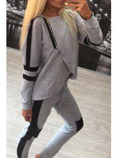 Hooded Overlap Sweatshirt + Color Block Pants Suit - Gray S