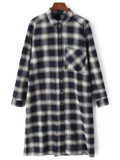 Checked Thicken Flat Collar Long Sleeves Long Shirt - Black L