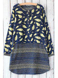 Feather Print Scoop Neck Long Sleeve Dress - Purplish Blue