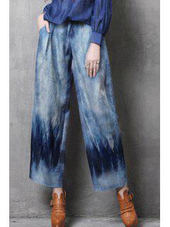Bleach Wash Wide Leg Ninth Jeans - Light Blue M