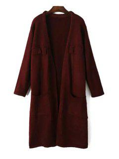 Pure Color Open Front Longline Cardigan - Wine Red