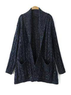 Shawl Neck Cable Knit Cardigan - Cadetblue