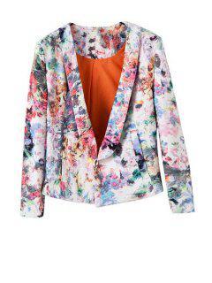 Shawl Neck Floral Print Blazer - White M