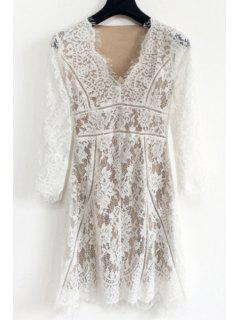 Lace Spliced Plunging Neck Long Sleeves Pure Color Dress - White M