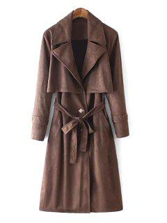 Lapel Self-Tie Belt Suede Trench Coat - Dun S