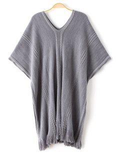 Batwing Sleeve Loose Fringed Sweater - Gray