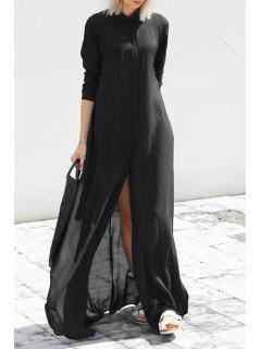 Black Chiffon Flat Collar Long Sleeves Maxi Dress - Black Xl