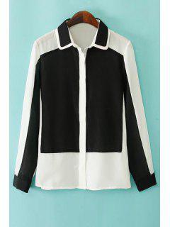 Long Sleeve Hit Color Chiffon Shirt - White M