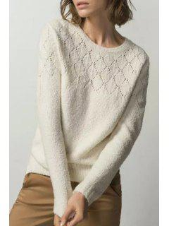 Hollow Out Round Neck Long Sleeve Jumper - Off-white L