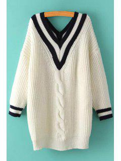 V-Neck Cable Knit Stripes Sweater - White