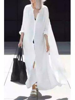 White Stand Collar Long Sleeves Shirt Dress - White S