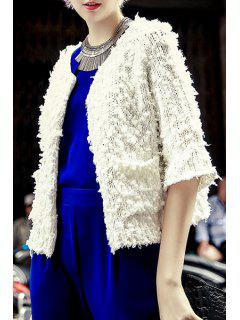 3/4 Sleeve Covered Button Knitted Jacket - White M