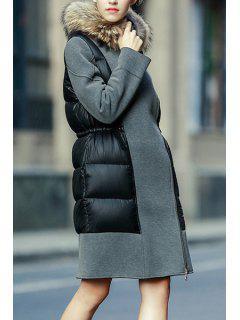 Faux Fur Collar Drawstring Down Coat - Gray L