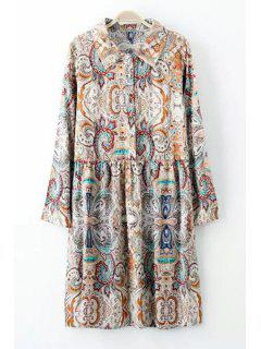 Floral Print Button Flat Collar Long Sleeves Dress - M