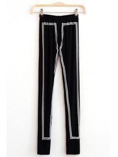 Elastic Waist Hit Color Skinny Leggings - Black