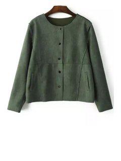 Single-Breasted Suede Jacket - Green L