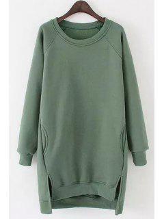Side Slit Pocket Design Long Sweatshirt - Green