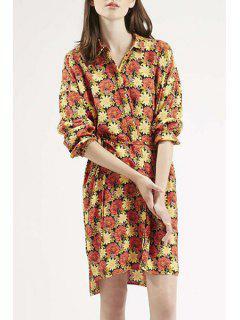 Long Sleeve Full Floral Shirt Dress - L