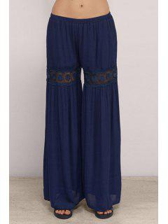 Lace Spliced Blue Women's Palazzo Pants - Blue L