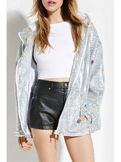 Silver Long Sleeves Hooded Pocket Jacket - Silver S