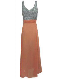 Plunging Neck Hollow Back Glitter Dress - Orange L