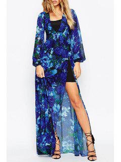 Rose Print Plunging Neck Long Sleeves Maxi Dress - Blue S