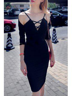 Deep V Neck Solid Bodycon Dress - Black L