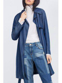 Lapel Belted Chambray Trench Coat - Blue S