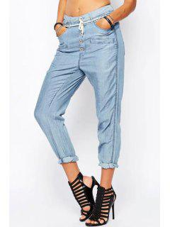 Light Blue Drawstring Harem Jeans - Light Blue M