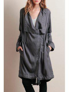 Solid Color Long Sleeves Taille Unregelmäßiger Saum Trenchcoat - Grau 2xl