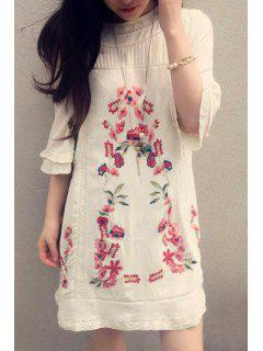 Half Sleeve Embroidered Dress - Off-white