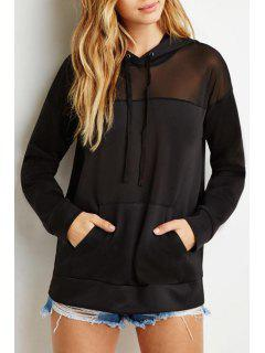 Voile Spliced Long Sleeves Pocket Black Pullover Hoodie - Black Xl