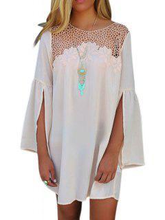 Split Sleeve Mesh Design White Dress - White Xl