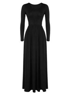 Pleated Solid Color Long Dress - Black L