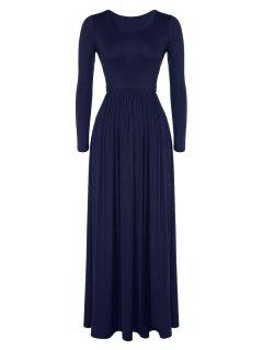 Pleated Solid Color Long Dress - Cadetblue 2xl
