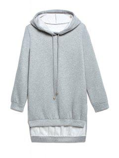 Hooded High Low Grey Hoodie - Gray L