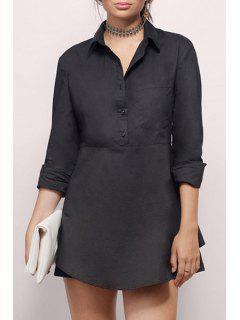 Solid Color Irregular Hem Long Sleeves Shirt Dress - Black M