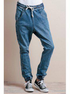 Blue Drawstring Elastic Waist Jeans - Blue L