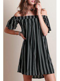 Striped Slash Neck Short Sleeve Dress - Black L