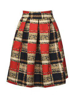 High-Waisted Plaid Ruffled Midi Skirt - Jacinth M