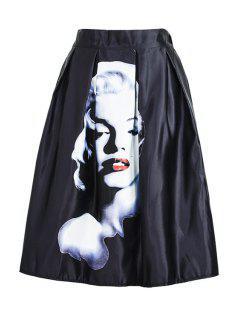 Figure Print Ruffled Midi Skirt - Black