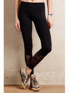 Voile Spliced Black Leggings - Black M