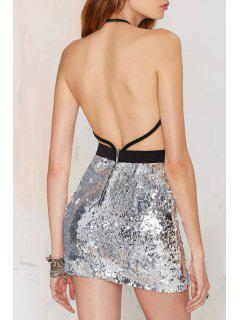 Backless Sexy Halterneck Sequins Dress - Silver L