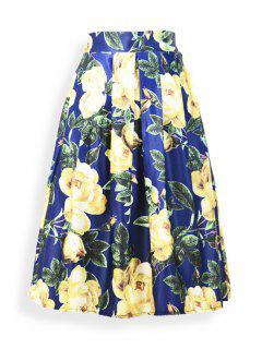 Large Flower Ruffled Midi Skirt - Blue