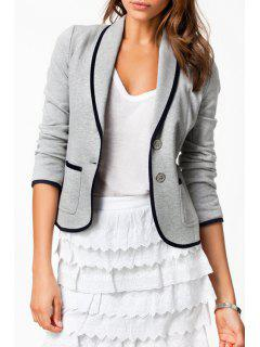 Pure Color Turn Down Collar Long Sleeve Blazer - Gray M
