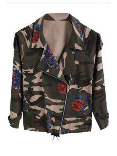 Rose Print Lapel Long Sleeve Coat - Army Green L