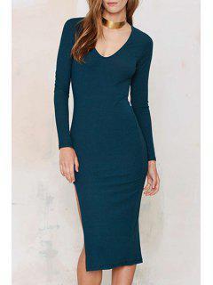 Long Sleeve Side Slit Blue Dress - Blue S